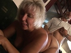 Granny takes the Grandpa's dick in doggy style