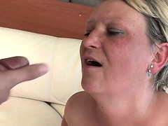 Kinky granny gets her face full of young dudes spunk