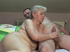 Cute granny spreads legs for deep meat injection