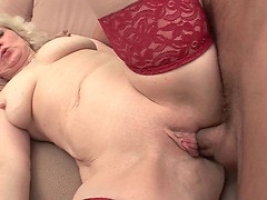 Older blonde anal action