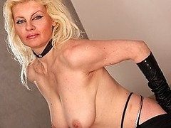 Horny blonde mature nympho playing with her pussy