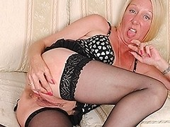 Naughty pierced housewife masturbating until she squirts
