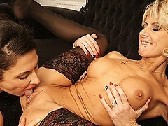 Lesbian housewife threesome gets wet and wild