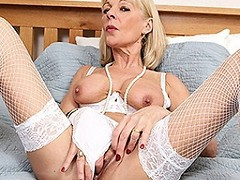 naughty British housewife playing with her pussy
