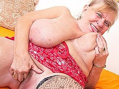 Big breasted BBW playing with her hairy pussy