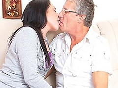 Hot babe having fun with a dirty old men