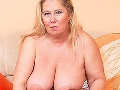 Big breasted BBW getting wet and horny