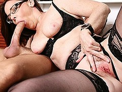 Hairy British housewife sucking and fucking