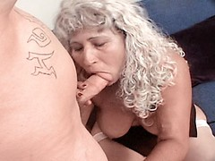 Blonde granny bitch getting fucked hard by tattoed stud