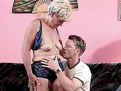 Grandma Susan taking intensive cock pounding in her pussy and gets cum hosed all over her face