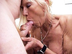 Skinny granny Kay gives a ayounger stud an awesome blowjob before getting hardcore fucked