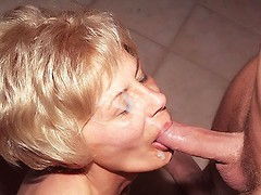 Blonde mature babe with a sexy ass Rosalie gets cock drilled and nasty cum facial from a stud