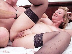 Granny bombshell Chole bends over the bed getting her wet pussy fucked from behind