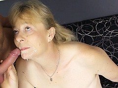 Experienced granny Maria gets cock plugging in her ripe snatch and takes nasty cum facial