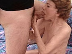 Granny bitch enjoying a huge cock in her hungry wet mouth