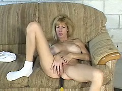 Mature Blonde Posing and Masturbating Pussy