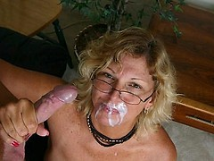 Horny granny Alicia still wearing her eyeglasses while giving a cock an amazing blowjob