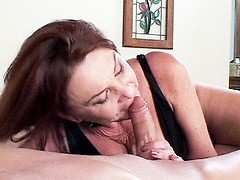 Stunning grandma Gigi deepthroats her boyfriend getting him hard and ready to fuck