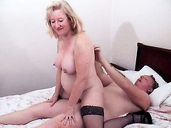 Cock starved granny taking a big one in her mouth and ride it reverse cowgirl way