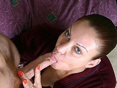 Stunning granny Sunset Rain gives a cock an awesome blowjob then getting a nice cumshot