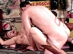 Gorgeous mature bitch banging wildly on the work table