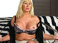 Horny Dutch MOM playing with her shaved pussy
