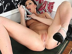 Hot British MILF sniffing panties and masturbating