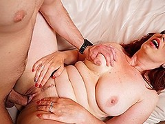 Hot redhead housewife sucks dick and gets fucked