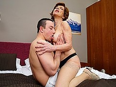 Horny housewife fucking and sucking her toy boy