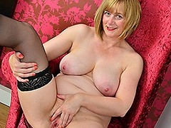 Horny Blonde British housewife playing with her pussy