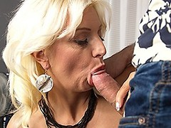 Horny blonde housewife fucking in POV style