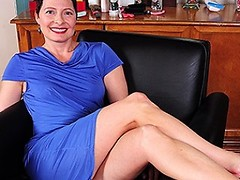 Naughty shaved American mom playing with herself