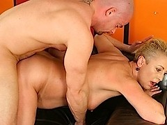 Horny blonde gets reamed