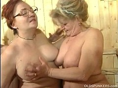 Lesbian grandmas getting all steamy